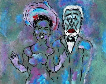 "Original, Small, Line Drawing, small Painting, Mardi Gras, Valentine's Day, Acrylic, Ink, 8""x 8"", ""The Debutante And King Mourning"""
