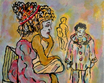 "Clown, masks, Original painting, original drawing, colorful, lovers, ""No More Funny Valentines"""