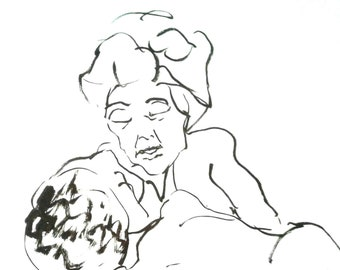 "Original drawing, line drawing, Ink drawing, portrait, expressionism, ""Lullaby"""