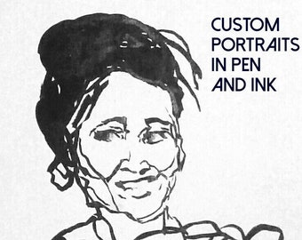 Custom Ink Portraits, Custom Ink Illustration, Original, Small, Line Drawings, Faces, Expressions, Expressionistic, Character Drawing