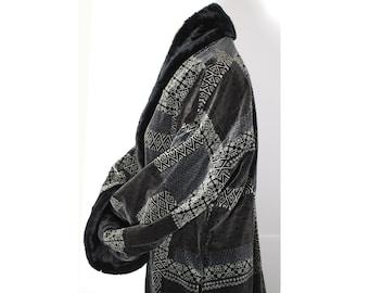 Vintage Handmade Designer Black Velvet Evening Coat with faux Fur Lapels  and cuffs 236c406db02c