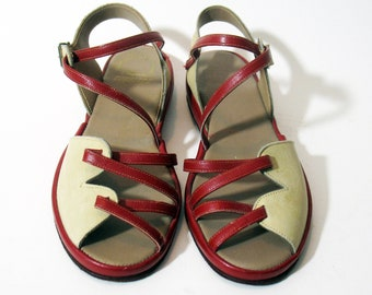 24516d91226777 Vintage Rare California Cobblers 1930-40s Red and Cream Women s sandals  Size 6