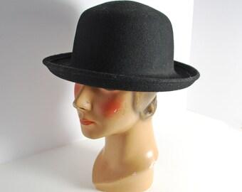 8781f9c196a Vintage Womens Black Felt Bowler Hat