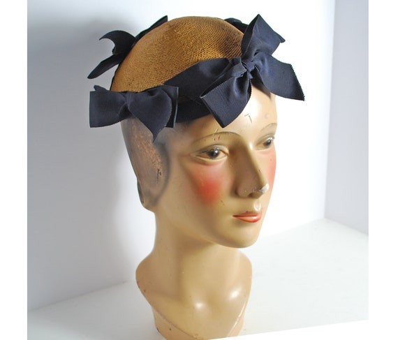 Vintage Jay Thorpe Women's Ribboned Straw Cap with