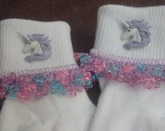 Elegant Turquoise Unicorn  Beaded Socks bobby ruffle  all size infant to adult