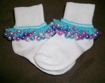SALE Shades Of Pink Beaded Socks