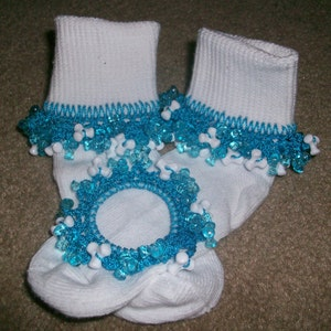 Pink and Pastels Beaded Socks and Scrunchie Sale