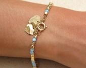 Gold Bracelet for Women, Opal Beaded Bracelet, Birthday Gift, Mother 39 s day Gift, Bat-Mitzvah Gift, Bridal Blue Jewelry