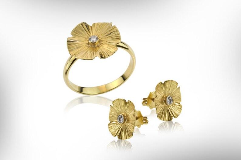 April Birthstone, Gold Flower Ring Women Birthstone Gift Ring