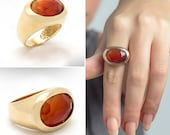 Gemstone Carnelian Ring, Gold Statement Ring, Big Carnelian Ring, Gemstone Statement Ring, Cocktail Rings for Women, Gift for Wife.