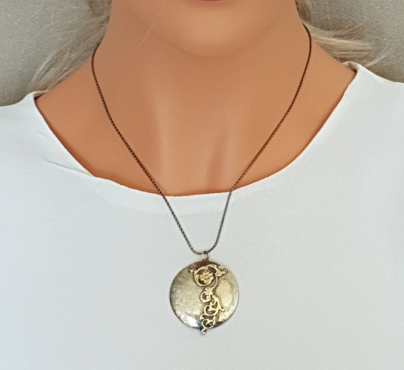 9k solid Gold and Silver Statement Pendant Art Nouveau Pendant Necklace Unique Jewelry Gift for Her. Vintage Style Pendant for Women