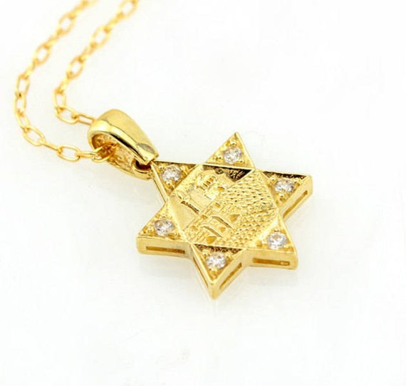 14K Yellow Gold Star of David Pendant on an Adjustable 14K Yellow Gold Chain Necklace