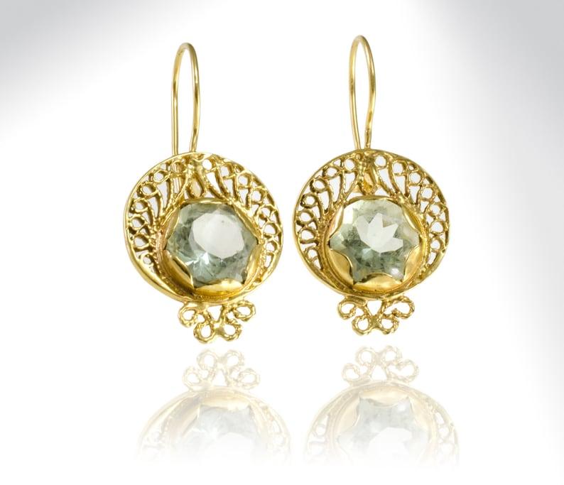 Green Amethyst Free  Shipping Gold Vintage Earrings February Birthstone Earrings Lace Earrings