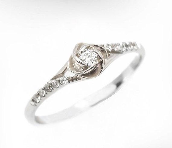 Flower Engagement Ring Vintage Engagement Ring 14k 18k White Etsy