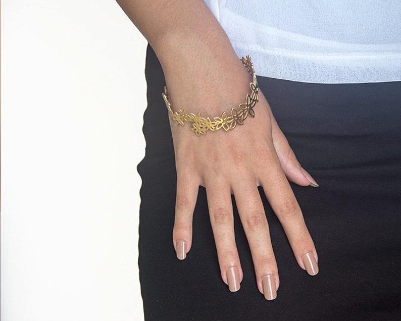 Sterling Silver Bangle Bracelet Unique Flower Bracelet for Women Statement Bracelet for Her.