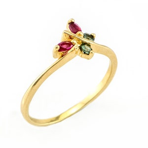 Anniversary Ring October Birthstones Ring Gift for Her Birthday Gift. Pink and Green Tourmaline Gemstones 9k Solid Gold butterfly Ring