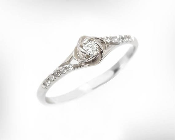 Vintage Engagement Ring 14k 18k White Gold Diamond Etsy