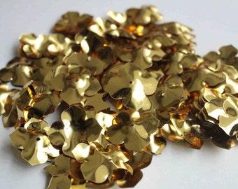 25 pcs Shiny Golden Color Flower Sequins/KBBF482