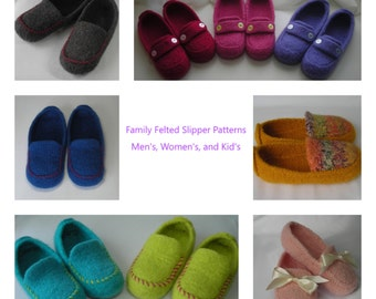 b490a7e23f3 Felted Slipper Knitting Pattern Men s Women s Kid s family Anniversary  Wedding Valentines Day DIY gift bulky worsted yarn resell permission