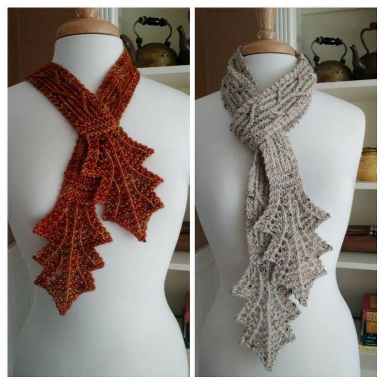 Knitting Pattern Autumn Leaf Cravat Lace Scarf Cowl Necklace Etsy