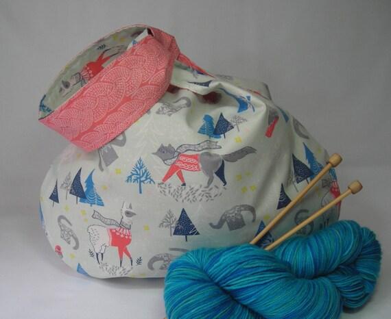 Knitting Crochet Medium Japanese Knot Project Bag Wip Yarn Etsy