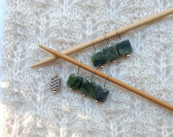 Knitting Stitch Markers - Green Jasper gemstones - snag free - 10mm square gemstones and silver - set of 7 - two loop sizes available