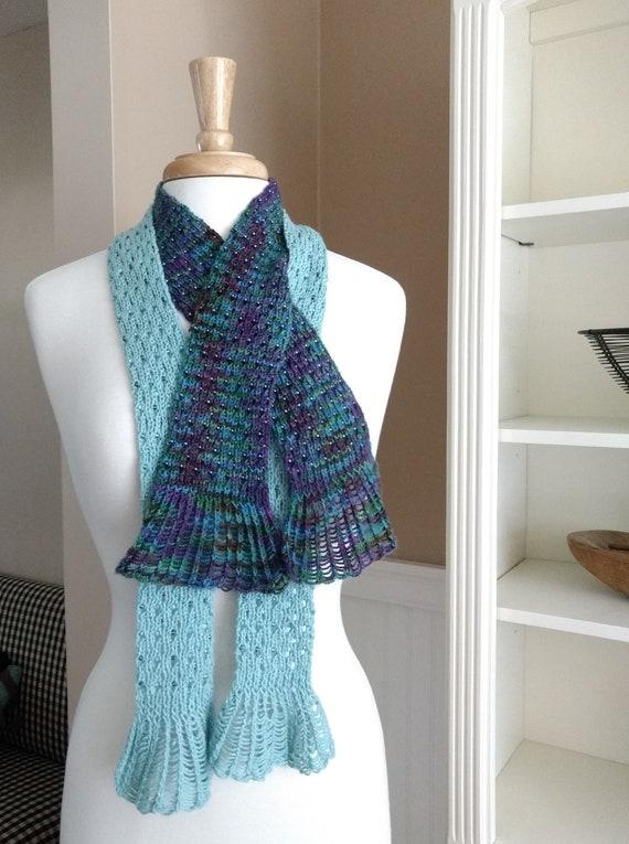 Knitting Pattern PDF Waterfall Lace Cravat beaded lace scarf   Etsy