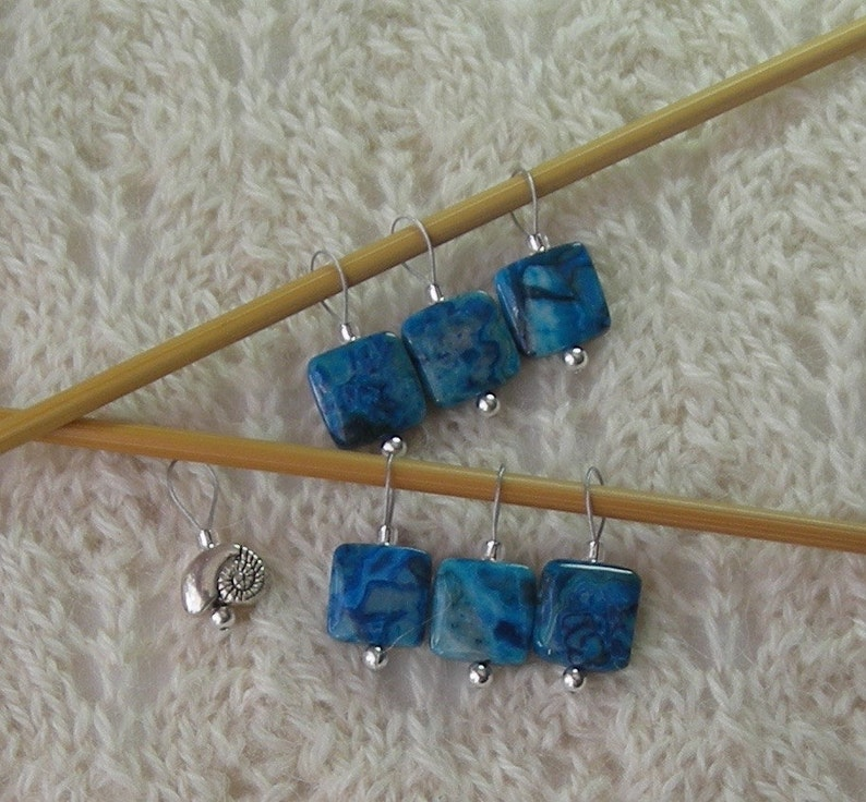 Knitting Stitch Markers Crazy Lace Agate Blue snag free loops 12mm square  stones and silver set of 7 two loop sizes available