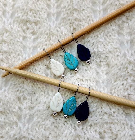 Leaf Knitting Stitch Markers Shades Fo Blue Turquoise White Etsy
