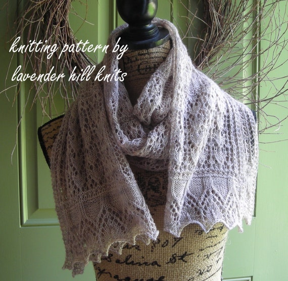 Knitting Pattern Easy Lace Rectangle Shawl Cowl Wrap Scarf Etsy