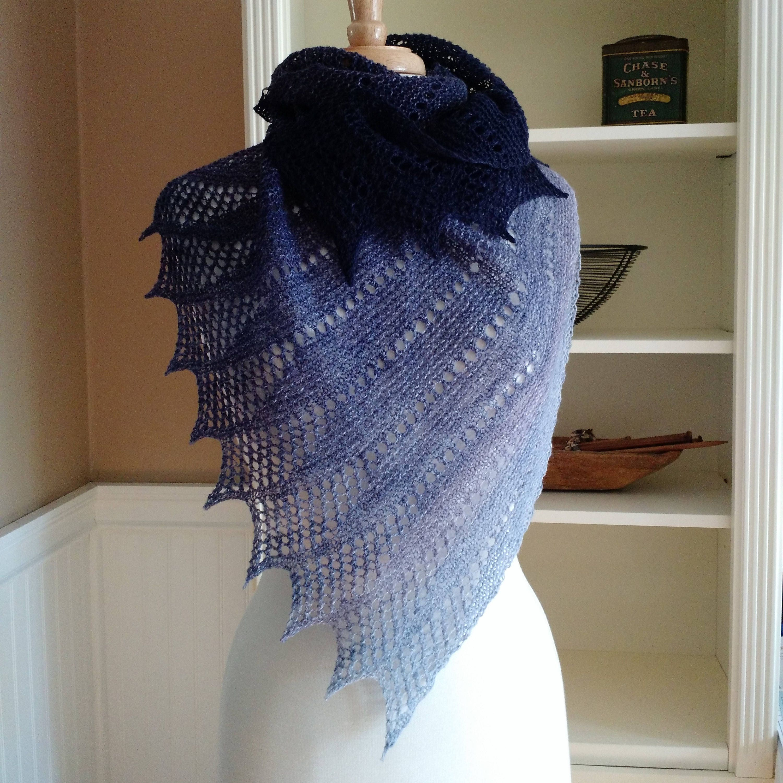 Lace Shawl Knitting Pattern Pdf Mistral Shawl Asymmetric Etsy
