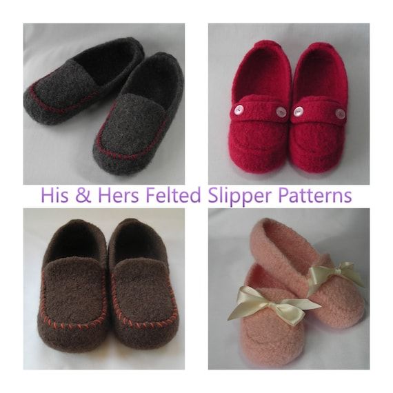 Knitting Patterns Pdf Mens And Womens Wool Felted Slippers Etsy