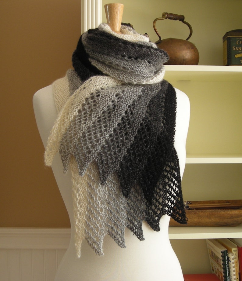 Lace Scarf Knitting Pattern Pdf Mistral Scarf French Inspired Etsy