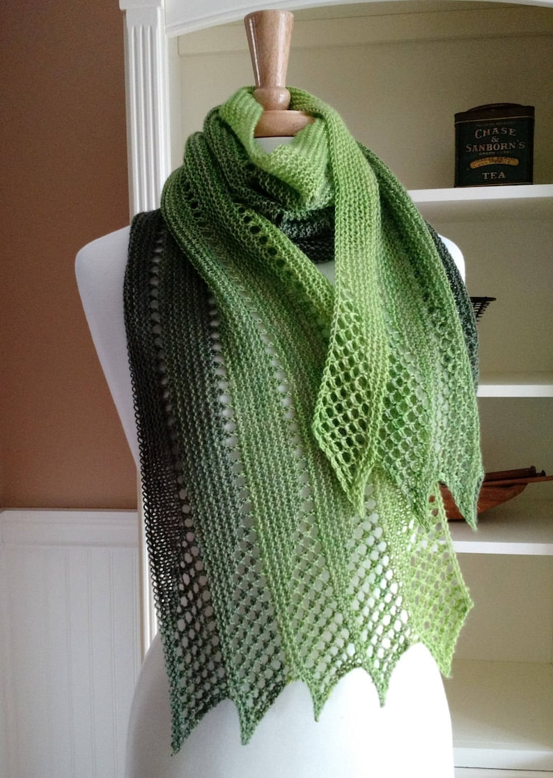 Lace Scarf Shawl Knitting Pattern Mistral Scarf French Etsy