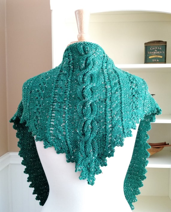 Clover Lace Cabled Shawlette Pdf Knitting Pattern With Etsy