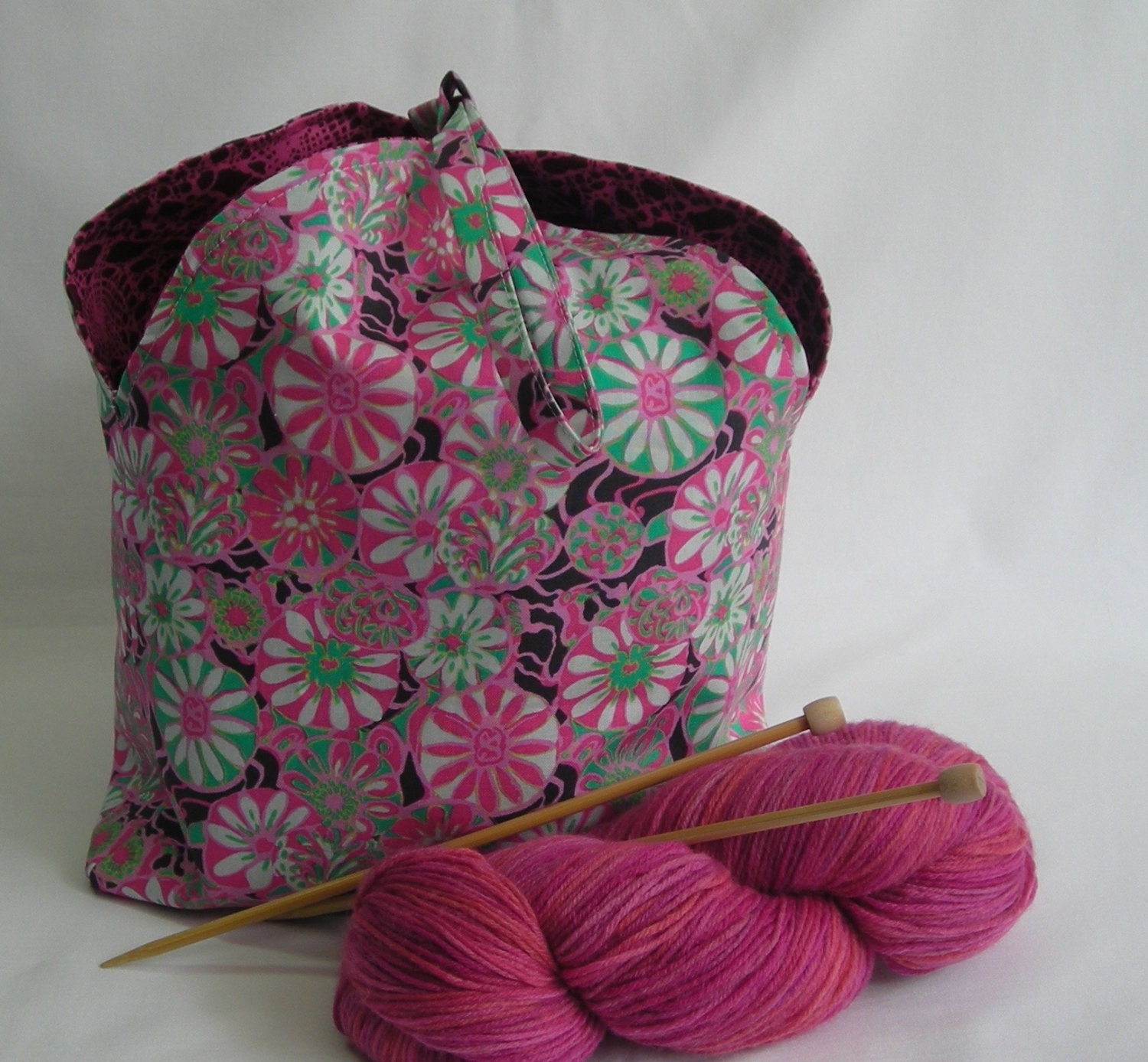 Amy Wip knitting project bag - crochet wip yarn shawl - tulip bag drawstring  wristlet pouch - amy butler true colors pink - free knitting pattern
