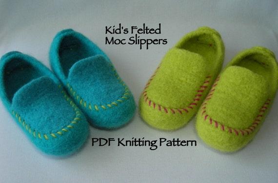 Knitting Pattern Pdf Kids Knit Felted Moc Slippers Using Etsy