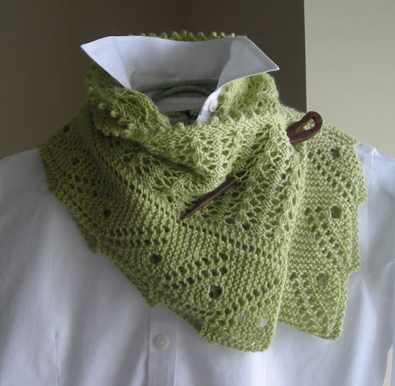 Lace Scarf Shawl Easy Knitting Pattern Front Porch Fern Etsy
