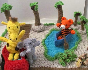 Amigurumi Play Mat, Safari, Play Mat for Toddlers, Safe Toy for babies & Toddlers, Jungle Play Mat, Birthday Gift, Play Mat Toy, Imagination