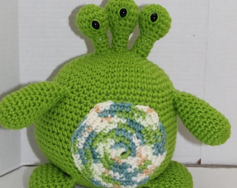 3 Eyed Monster, Crochet Toy, Monster Doll, Monster, Soft Plush Toy, Safe Toddler Toy, Amigurumi, Amigurumi Doll, Green Monster, Green, Toy