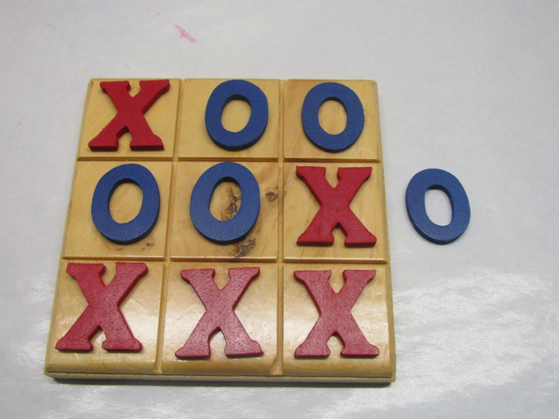 Tic Tac Toe Mind Game Classic Game Wooden Board Game red blue