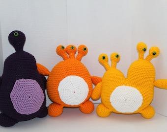 Set of 3 Crochet Alien Monsters, Purple, Orange, Yellow, Crochet Toy, Amigurumi, Safe Toddler Baby Toy, Monster Toy, Alien Toy, Birthday