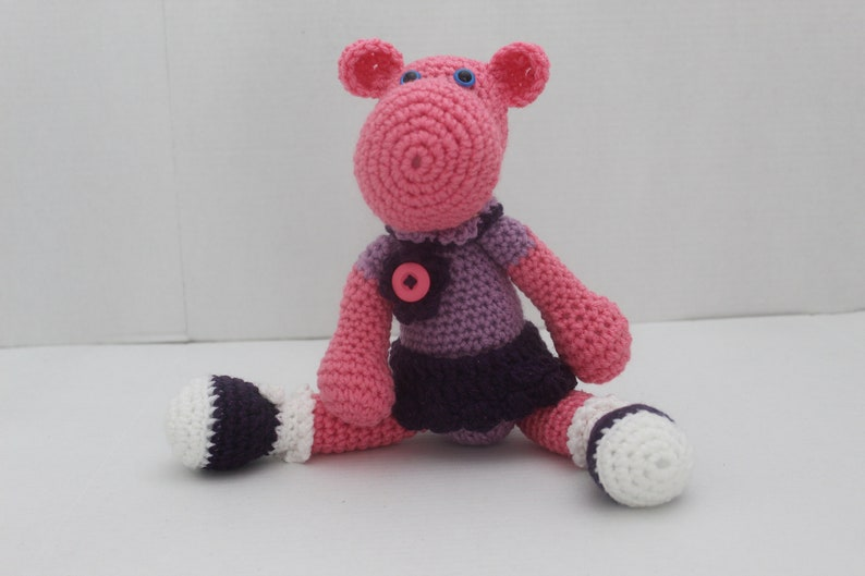 Hippo Stuffed Animal Plush Toy Crochet Toy Pink and image 0
