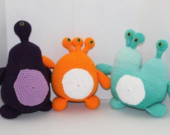 Set of 3 Crochet Alien Monsters, Purple, Orange, Ocean Blue, Crochet Toy, Amigurumi, Safe Toddler Baby Toy, Monster Toy, Alien Toy, Birthday