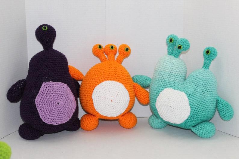 Set of 3 Crochet Alien Monsters Purple Orange Ocean Blue image 0