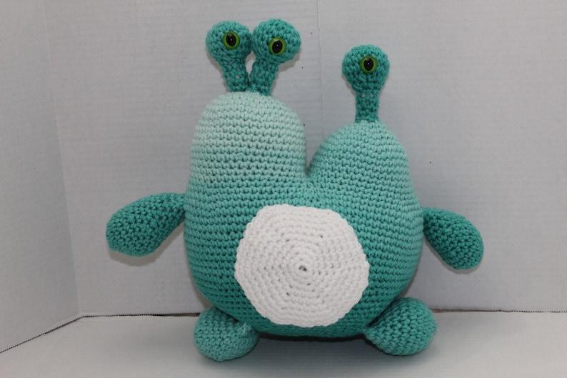 Crochet Monster Blue 2 Headed Monster  Blue Space Creature image 0