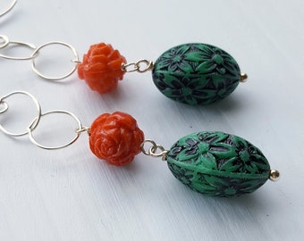 outlander earrings - vintage lucite and sterling - romantic, rose, red rose, scotland, green, pine - sterling silver chain