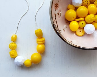 chicken or egg - necklace - spring jewelry - easter - bright yellow, sunshine yellow, contrast, white, vintage beads
