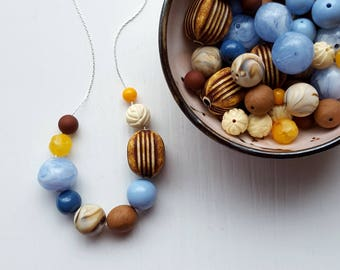 open road necklace - vintage lucite, remixed - brown, blue, cream, chocolate - stripes - asymmetrical jewelry - vintage jewellery