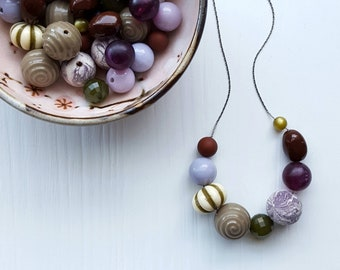 girl of the limberlost necklace - vintage lucite, remixed - deep woods, mori girl, plum, purple, brown, olive green